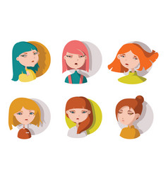 hand drawn young girls heads isolated on white vector image