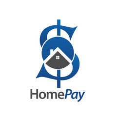 home pay initial letter s money logo concept vector image
