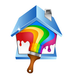 House and brush with paint vector