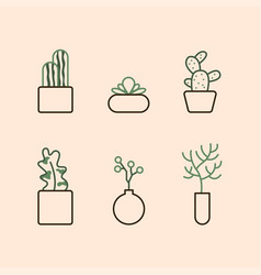 icons with houseplants vector image