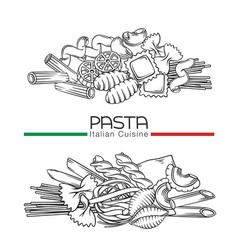 Italian pasta types hand drawn outline vector