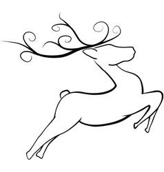 jumping christmas reindeer vector image