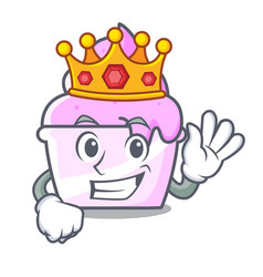 King ice cream paper cup mascot cartoon vector