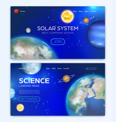 Landing page with solar system background vector