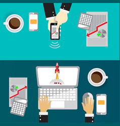 laptop and phone digital and technolog for vector image
