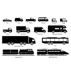 list commercial landed vehicles transportation vector image