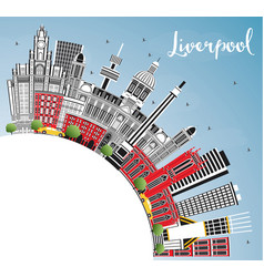 Liverpool england city skyline with color vector