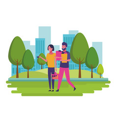 love couple cartoon vector image
