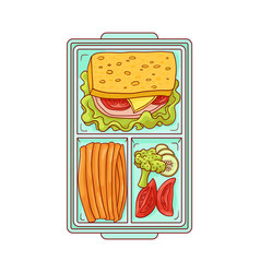 Lunchbox with food for lunch - sandwich and vector