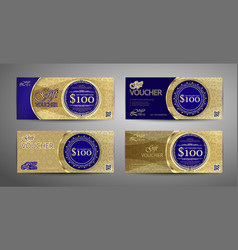luxury gift voucher template collection set of vector image