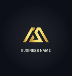 M initial gold logo vector