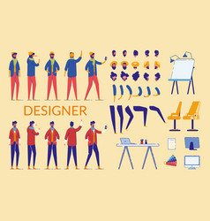 man characters designer constructor and equipment vector image