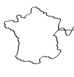 map of france continous line vector image