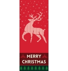 Merry Christmas banner with reindeer in knitted vector image