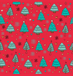 Merry christmas pine tree winter doodle background vector