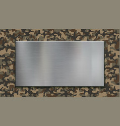 metallic silver plate on military camouflage vector image