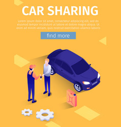 Mobile text poster for online car sharing service vector