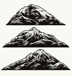 mountains different shapes vintage set vector image
