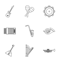 Musical tools icons set outline style vector