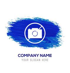 No camera icon - blue watercolor background vector