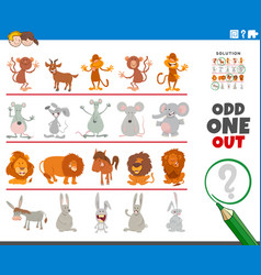 Odd one out picture game with funny animal vector