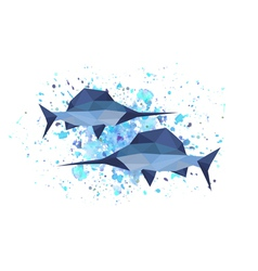 Origami sword fish on abstract background vector