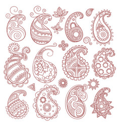 paisley pattern collection indian and eastern vector image