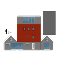 Paper model of a gray small house vector