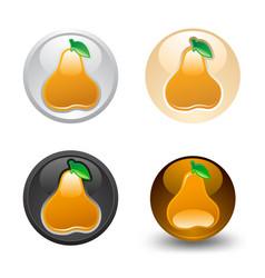 Pear button set web 20 icons vector