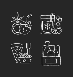 pickup and delivery option chalk white icons set vector image