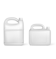 Plastic canisters white jerrycan isolated bottles vector