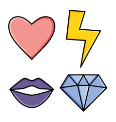 power girl stickers pop art style vector image