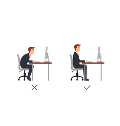 Right and wrong sit position in office chair flat vector