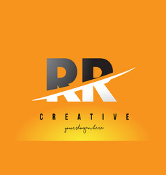 Rr r letter modern logo design with yellow vector