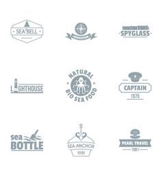 Sea adventure logo set simple style vector