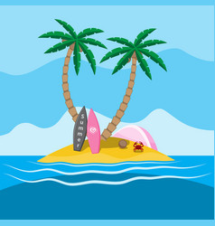 sea island with palm trees at which there are two vector image