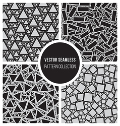 Seamless BW Mosaic Pattern Collection vector image