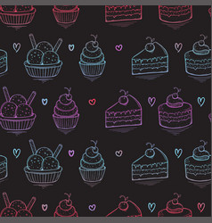 seamless desserts colorful pattern on black vector image