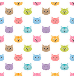 Seamless pattern with cute cartoon cats vector