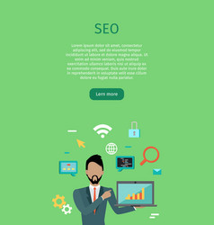 Seo conceptual web banners in flat style vector