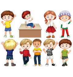 set children with happy face vector image
