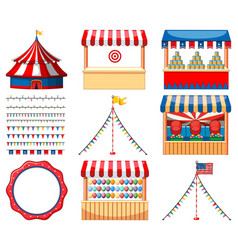 Set circus games and other decorations vector