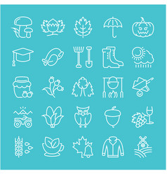 Set flat line icons autumn vector