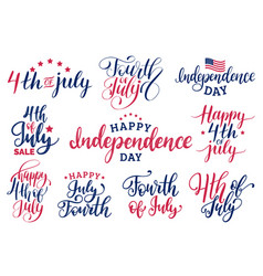 Set fourth july hand lettering vector
