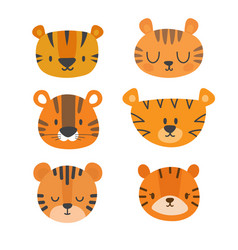 Set of cute tigers funny doodle animals little vector