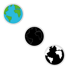 set of planet earth icons in three versions- color vector image