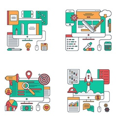 Set of Thin Line Flat Style Concept for Design and vector image
