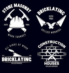 set of vintage construction and bricklaying labels vector image