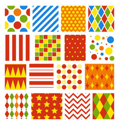 set seamless carnival circus festive patterns vector image