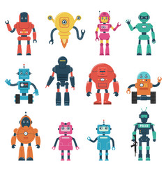 set smart robot characters vector image